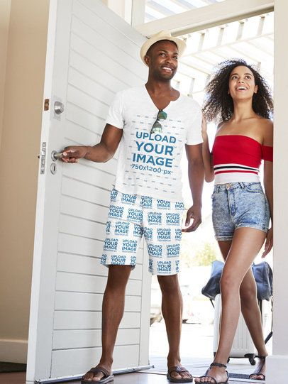 T-Shirt Mockup of a Man Wearing Shorts 34656-r-el2