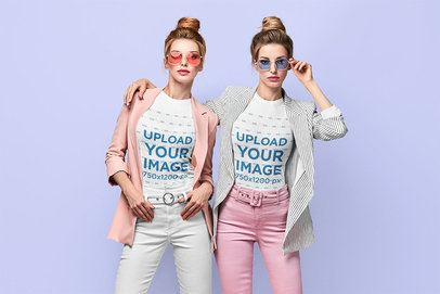 T-Shirt Mockup Featuring Twin Sisters Posing at a Studio 34966-r-el2