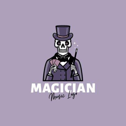 Cartoonish Logo Maker for a Musician Featuring a Magician Skeleton 1628c-el1
