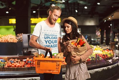 Mockup of a Hipster Man with a Basic Tee Grocery Shopping with a Friend 34479-r-el2