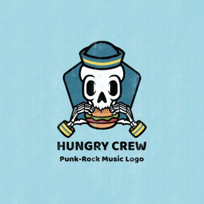 Punk Music Logo Creator with a Skull Eating a Burger 1629d-el1