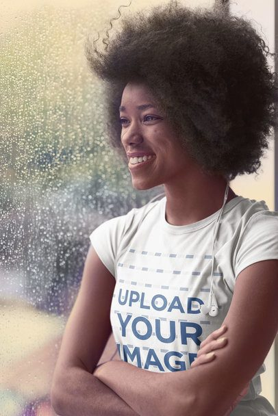 T-Shirt Mockup Featuring a Woman on a Rainy Day 34447-r-el2