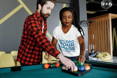 T-Shirt Mockup Featuring a Woman Playing Pool 34359-r-el2