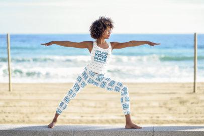 Tank Top Mockup of a Woman in Leggings Doing Yoga at the Beach 34694-r-el2