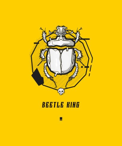 T-Shirt Design Template Featuring a Beetle Graphic 1512a-el1