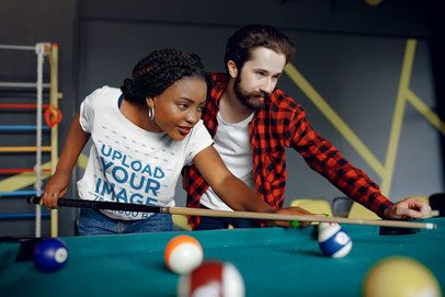 Mockup of a Woman with a Basic Tee Playing Pool with a Friend 34358-r-el2