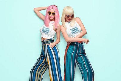 Mockup of Two Women with Wigs Wearing Cropped Tank Tops 34967-r-el2
