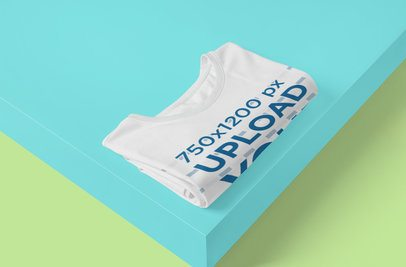 Mockup Featuring a Folded Customizable T-Shirt in a Minimal Setting 4313-el1