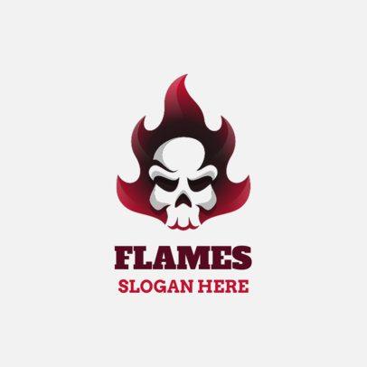 Logo Creator of a Minimalist Skull in Flames 1631a-el