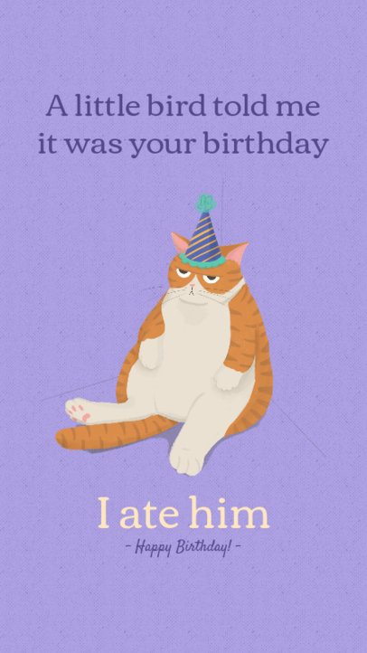 Birthday Instagram Story Creator Featuring a Grumpy Cat Graphic 2548c