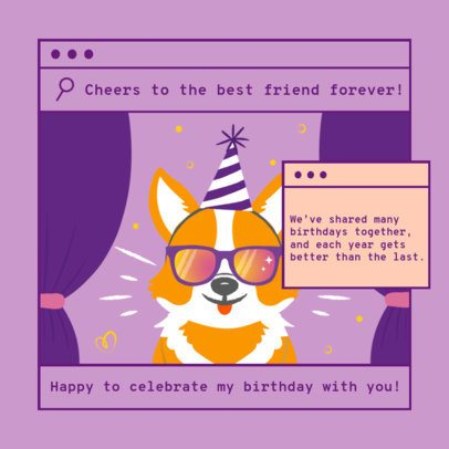 Instagram Post Template to Celebrate a Friend's B-Day 2549d