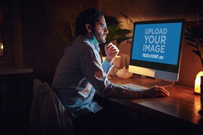 iMac Mockup of a Man Working from Home 36942-r-el2