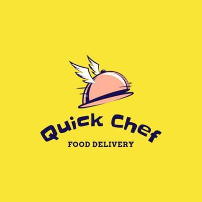 Food Delivery App Logo Maker Featuring a Flying Tray Graphic 3298h