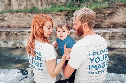 Back View T-Shirt Mockup Featuring a Couple with Their Baby 34307-r-el2