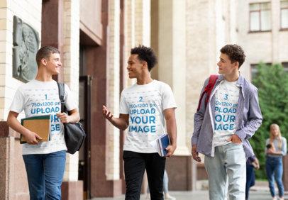 Mockup of Three College Friends Wearing T-Shirts 34420-r-el2