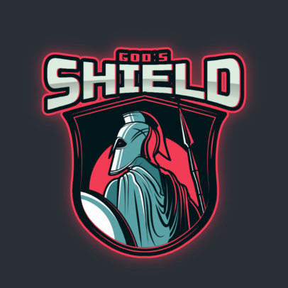 Gaming Logo Template Featuring a Warrior with a Shield and Spear 3297g
