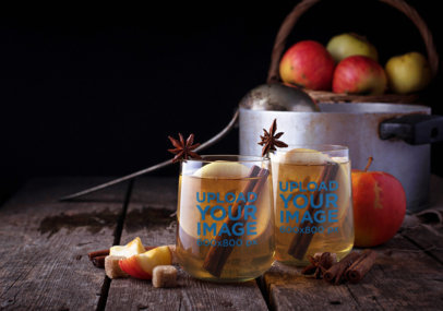 Mockup of Two Bulked Wine Glasses Featuring Cinnamon Sticks 36733-r-el2