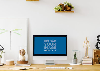 Mockup of an iMac Placed on a Desk by Wooden Shelves 36561-r-el2