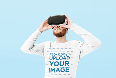Long-Sleeve Tee Mockup of a Man with a VR Visor at a Studio 34468-r-el2