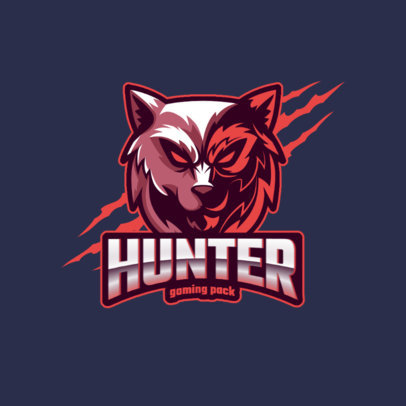 Logo Template for an eSports Team Featuring an Evil Wolf Graphic 3291h