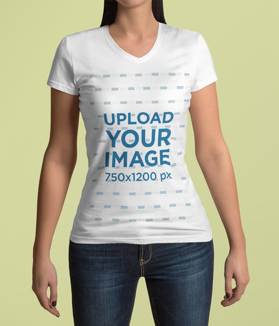 V-Neck T-Shirt Mockup Featuring a Woman in a Studio 4413-el1