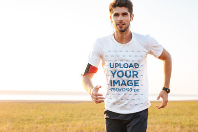 Mockup Featuring a Man Running with an Activewear T-Shirt 34438-r-el2