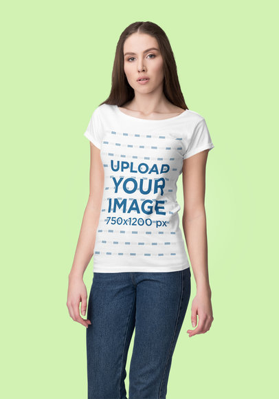 Mockup of a Woman Posing at a Studio While Wearing a Customizable T-Shirt 4384-el1