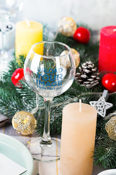 Wine Glass Mockup Featuring a Christmas Ornaments Setting 36849-r-el2