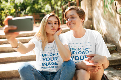 T-Shirt Mockup Featuring Two Young Friends Taking a Selfie 34482-r-el2