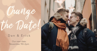 Facebook Post Maker for an LGBT Wedding Reschedule Announcement 2584e