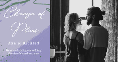 Classy Facebook Post Maker for a Re-Scheduled Wedding 2584g