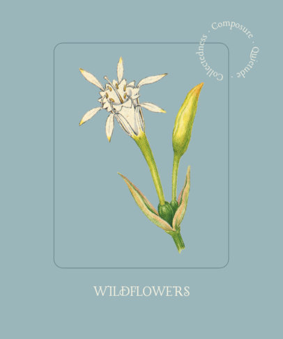 Illustrated T-Shirt Design Template Featuring a Wildflower Clipart 1658d-el1
