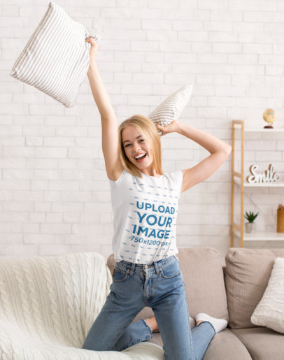 T-Shirt Mockup Featuring a Happy Woman Playing on a Couch 34541-r-el2