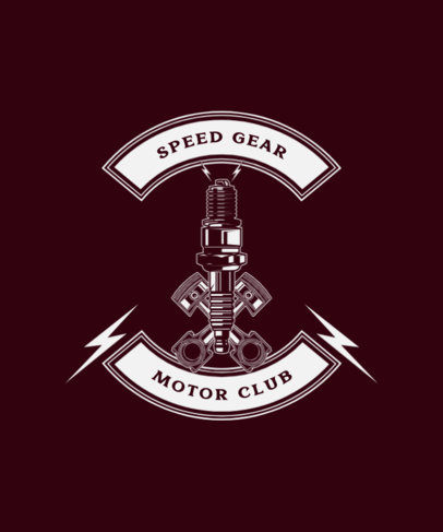 T-Shirt Design Template for a Motor Club Featuring a Piston Graphic 1713b-el1