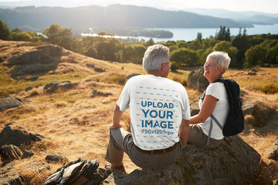 Back View T-Shirt Mockup Featuring an Elderly Couple Hiking 34655-r-el2