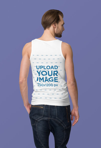 Back View Mockup of a Bearded Man Wearing a Tank Top at a Studio 4395-el1