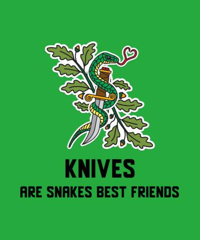Kawaii T-Shirt Design Generator with a Viper Around a Knife Sticker 2593e