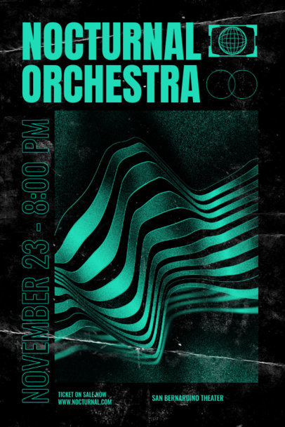Poster Design Template for an Orchestra Concert Featuring Abstract Lines 2576g
