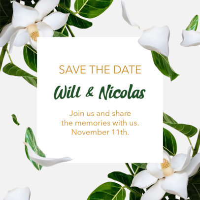 Instagram Post Design Template for a Save the Date Post 2583a