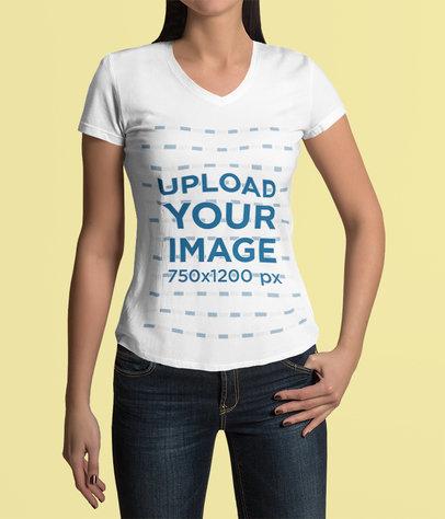 Mockup of a Woman Wearing a V-Neck T-Shirt Against a Plain Backdrop 4423-el1