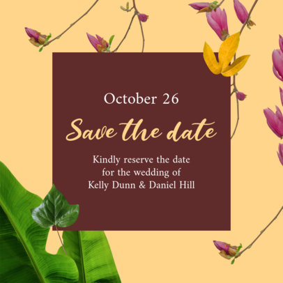 Wedding Instagram Post Creator with a Save the Date Message 2583g