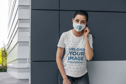 Mockup of a Woman Wearing a Customizable Face Mask and a T-Shirt 4557-el1