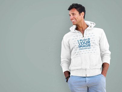 Full-Zip Hoodie Mockup Featuring a Smiling Man with His Hands on Pockets 34085-r-el2