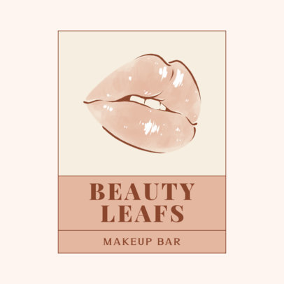 Makeup Bar Logo Maker Featuring a Watercolor Drawing of Female Lips 3317f