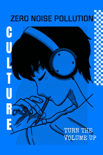 Acid-Style Poster Design Template with a Boy Listening Music 2572e