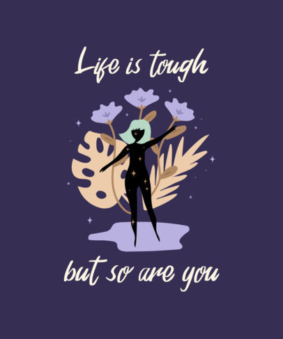 Illustrated T-Shirt Design Generator With a Positive Quote and a Woman's Silhouette 2578i