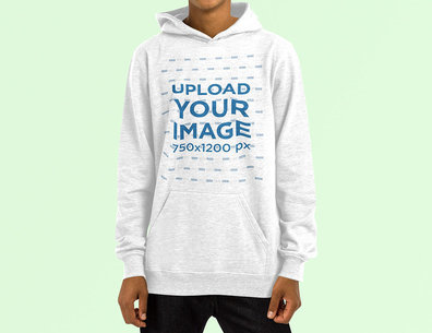 Heather Pullover Hoodie Mockup with a Customizable Background 4460-el1