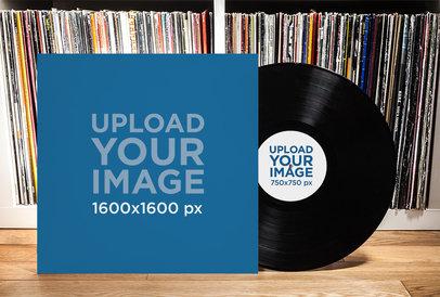 Mockup of a Vinyl Record and Its Cover 4530-el1