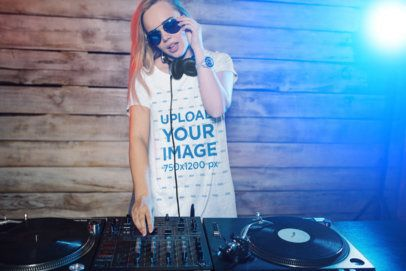 T-Shirt Mockup Featuring a Woman DJing with a turntable 37025-r-el2