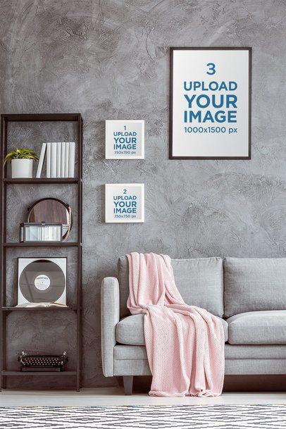 Mockup Featuring Three Art Prints Hanged on a Gray Wall 36676-r-el2